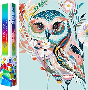 TONZOM DIY 5D Diamond Painting Kit, Full Drill Crystal Rhinestone Embroidery Pictures Arts Craft Owl Diamond Painting for Home Wall Decor Gift (12x16 inch)