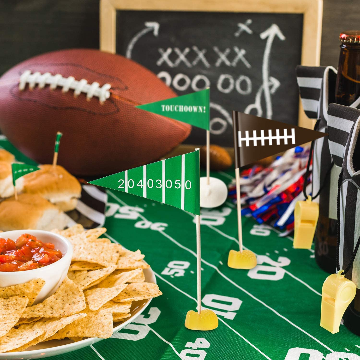 50 Game Day Flag Picks Football Appetizer Cupcake Tailgate Birthday Party Event