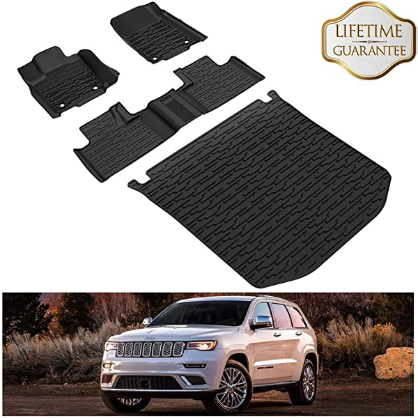 KIWI MASTER Floor Mats Compatible for 2016-2019 Jeep Grand Cherokee Accessories Front /& Rear Row Floor Liners All Weather Protection Slush Mat Black 82215577AC