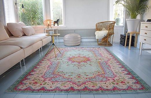 Rozenkelim Vintage Teppich | Shabby Chic Look Teppichläufer für Wohnzimmer,  Schlafzimmer und Flur | 70% Polypropylen, 30% Baumwolle (Pastell, 225cm x  ...