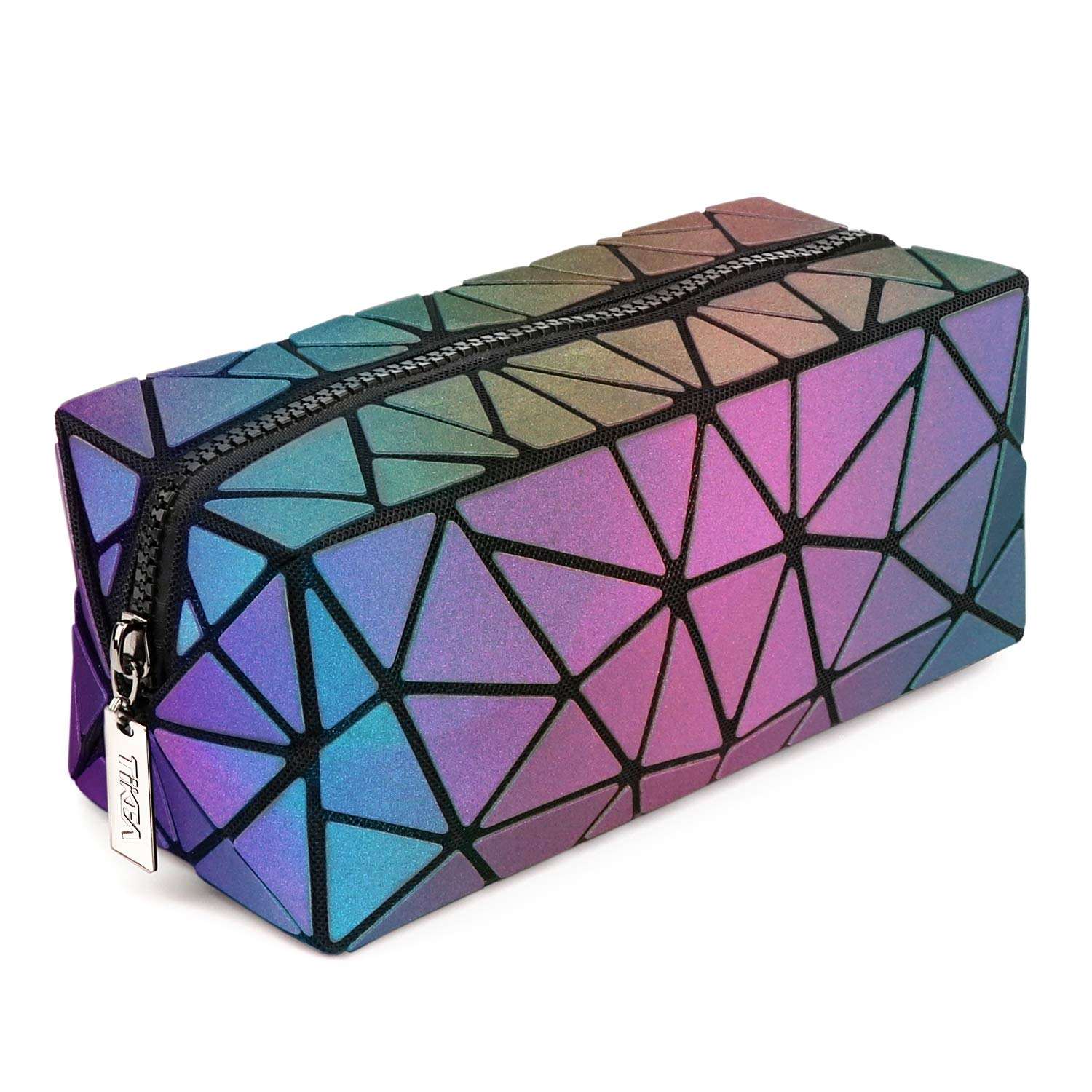 Tikea Cosmetic Bag - Makeup Pouch Geometric Clutch Luminous Beauty Bag Small Travel Cosmetic Wristlets, Holographic and Reflective