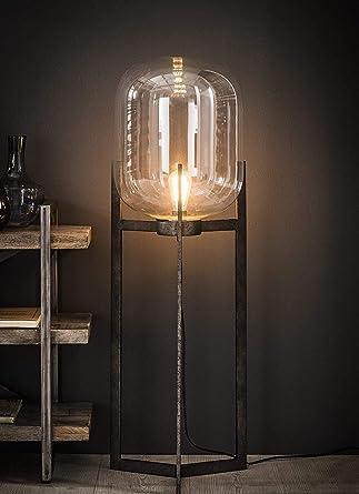 Retro Stehlampe Bulb Industrial Mit Metallfuss Glasschirm Amazon De Beleuchtung