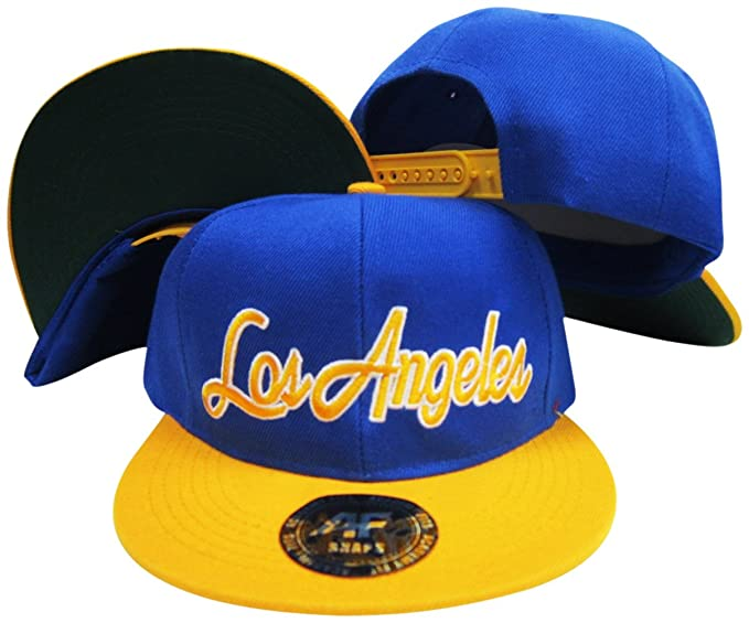 055dbd2121c5f Image Unavailable. Image not available for. Color  Los Angeles California Script  Rams Colors Blue Yellow Adjustable Snapback Hat Cap