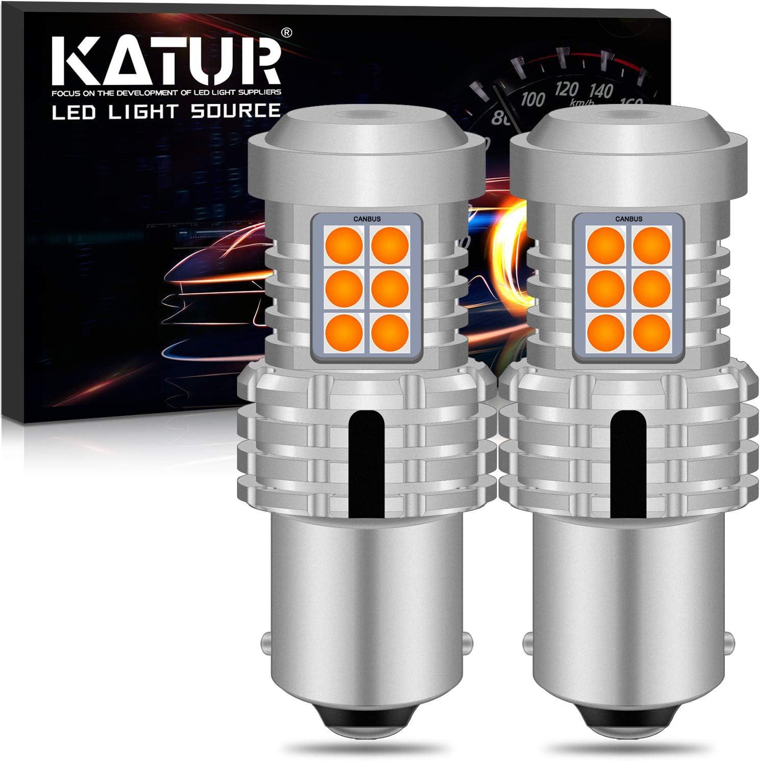 KATUR 1156 BA15S P21W 7506 Bombillas LED Superbrillantes 12pcs 3030 y 8pcs 3020 Chips Canbus Error Señal de Giro Libre Freno Trasero Cola de estacionamiento Luces,Ámbar Amarillo(Paquete de 2)