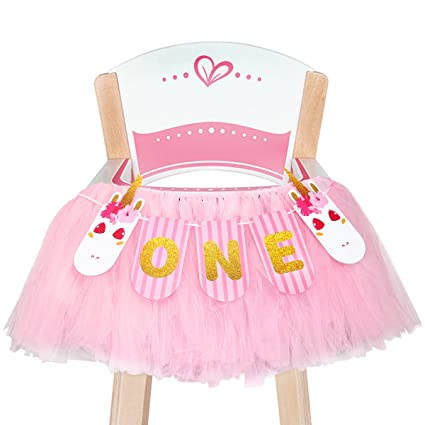 1st Birthday Girls Baby High Chair Tutu Skirt Decorations With Unicorn ONE Banner For First Party Decoration Ideas Supplies