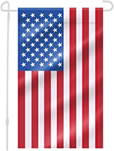 Free Walker Garden American Flag,12x18 Inch Vivid Color Vertical 3-Layer Nylon Stitched and Double Sided US Garden Stand Flag for Patio,Home,Yard,Outdoor
