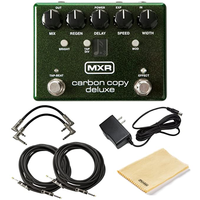 740664e1 Amazon.com: MXR M292 Carbon Copy Deluxe Analog Delay Pedal Bundle w/4  Cables, 9V Power Supply, and Dunlop Polishing Cloth: Musical Instruments
