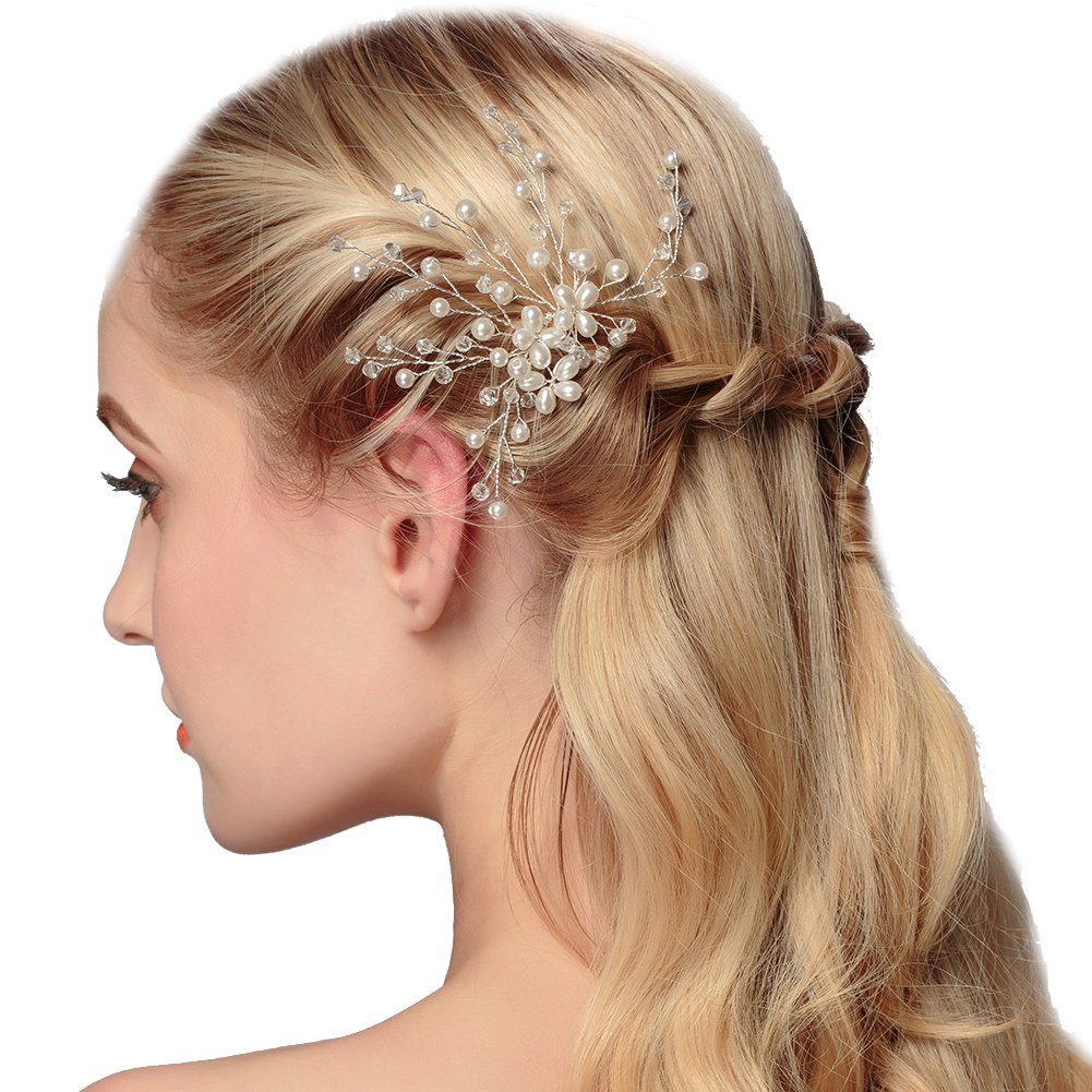 Wedding fashion headwear accessories pearl leaves hair styling comb A pair