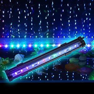 PULACO 2 Watt Aquarium Fish Tank Air Stone with Automatic Color Changing LED Light (Length -10