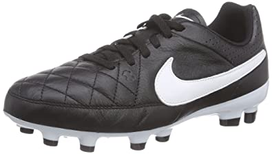 732dd6c06611e Nike Tiempo Genio Leather Firm Ground, Unisex Kids' Football Boots,  Black/White