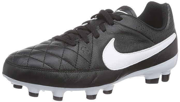 Nike Jr. Tiempo Genio Leather FG Mixte Enfant Chaussures de Football Blanc 34 EU GenKg