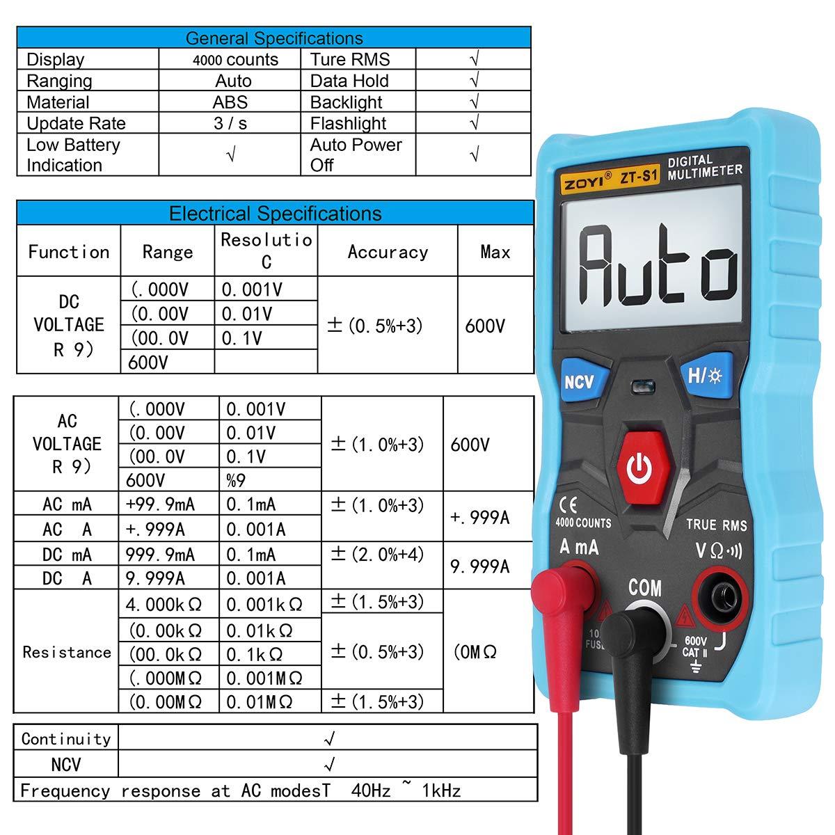 Multímetro digital, verdadero multímetro digital RMS con una pantalla LCD de 4000 cuentas de retroiluminación de rango automático, engranaje de ...
