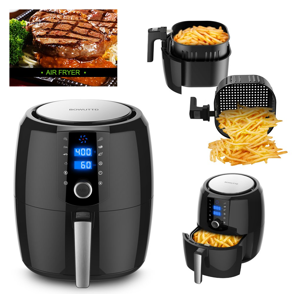 BOWUTTD Digital Air-fryer XL 5.5-Quarts Touchscreen Healthy Oilless 1800w Power Electric Air Fryer Oven Black Air Cooker with Receipts Cookbook