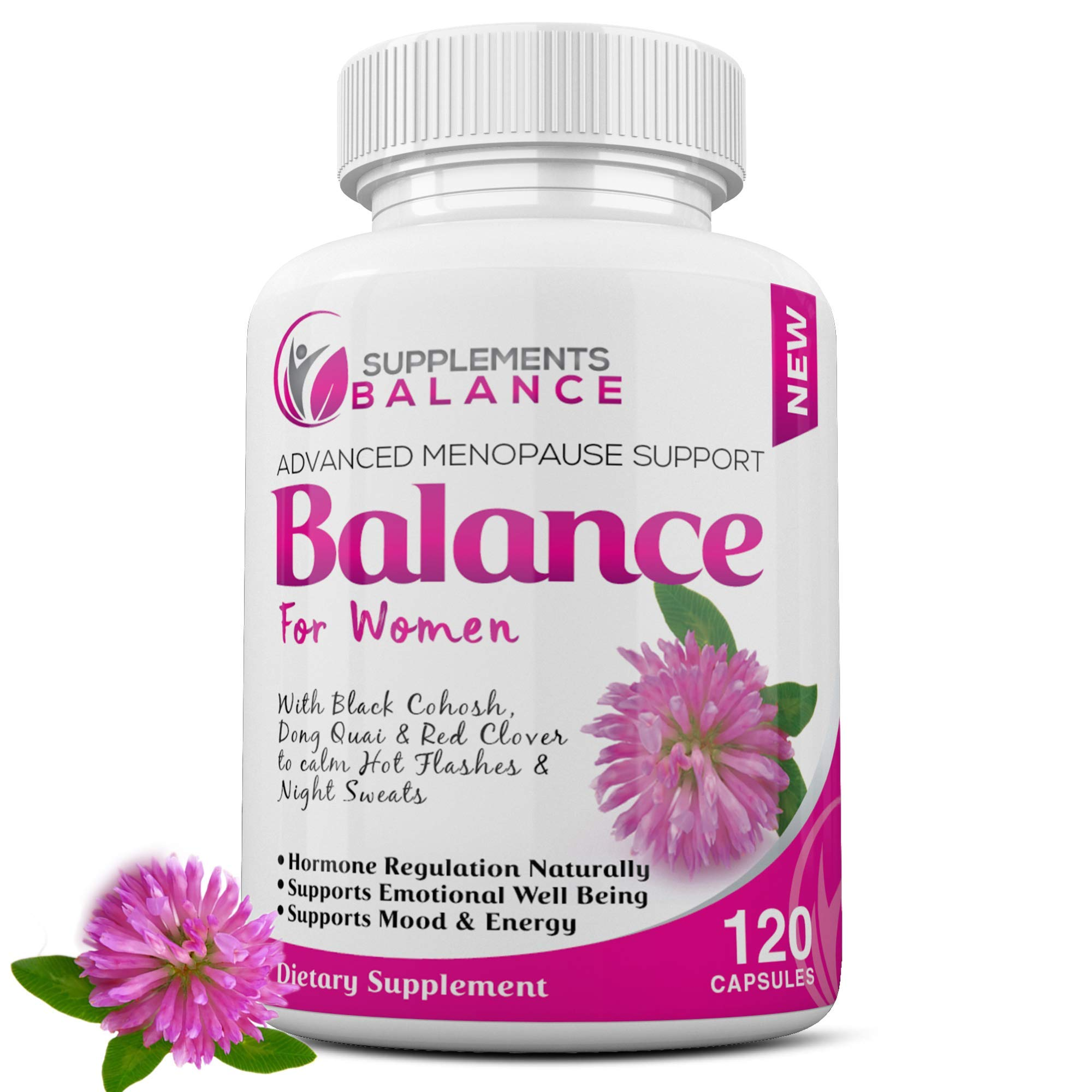 Hormone Balance & Menopause Relief for Women   120 Capsules 2 Months of Hot Flash   Support for Women   Black Cohosh, Dong Quai, Sage, Red Clover, Licorice & Soy Isoflavones   Estrogen Pills for Women