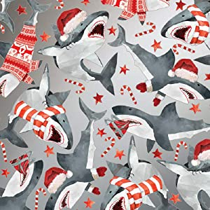 """Christmas Sharks Holiday Gift Wrapping Paper Roll - 24"""" x 15'"""