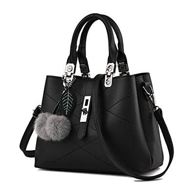 Mn Sue Women Top Handle Satchel Leather Handbag Shoulder Bag Lady Tote Purse  with Strap fd659f25991b4