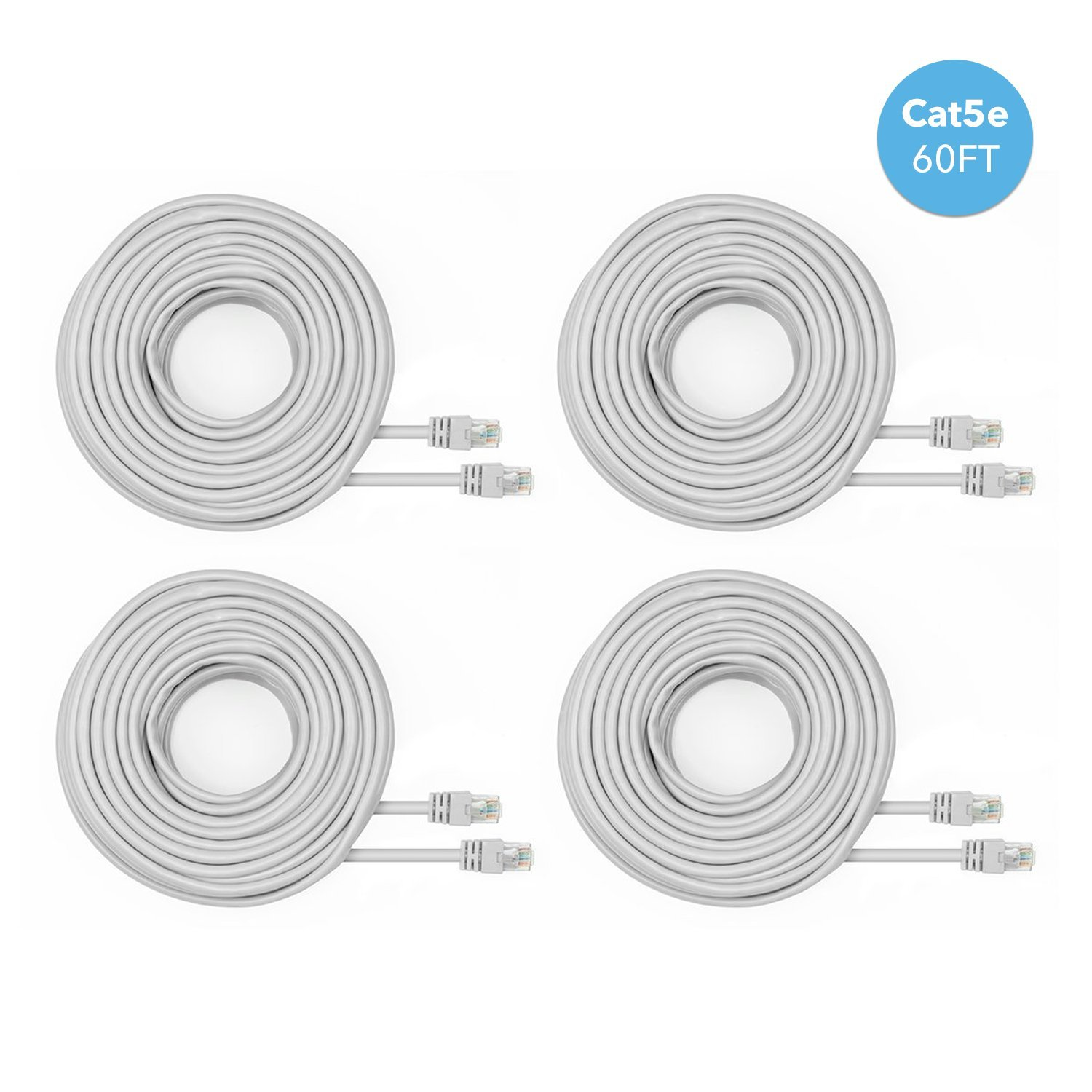 Amcrest Cat5e Cable 60ft Ethernet Cable Internet High Speed Network Cable for POE Security Cameras, Smart TV, PS4, Xbox One, Router, Laptop, Computer, Home, 4-Pack (4PACK-CAT5ECABLE60)