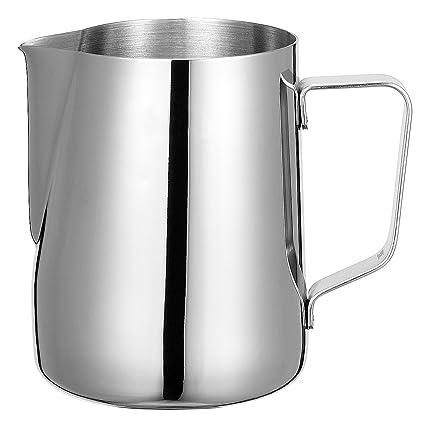 Jarra de acero inoxidable para hacer espuma de leche, apta para café con leche y capuccino, 600 ml, regalo, de la marca Shayson
