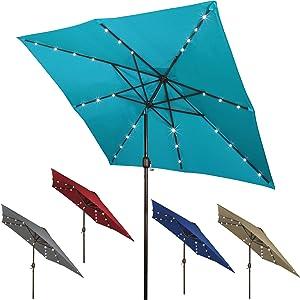 Blissun Square Patio Umbrella with 28 LED Lights, Solar Umbrella Table Market Umbrella with Tilt and Crank Outdoor Umbrella for Garden, Deck, Backyard, Pool and Beach, Cerulean