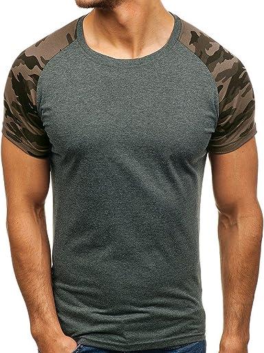 MEIbax Camisetas de Manga Cortas para Hombre con Cuello Redondo Originales Estampada Divertidas Camisa Interior termicas Camisetas de Tirantes Manga Corta Blusa Tops T-Shirt Pullover: Amazon.es: Ropa y accesorios