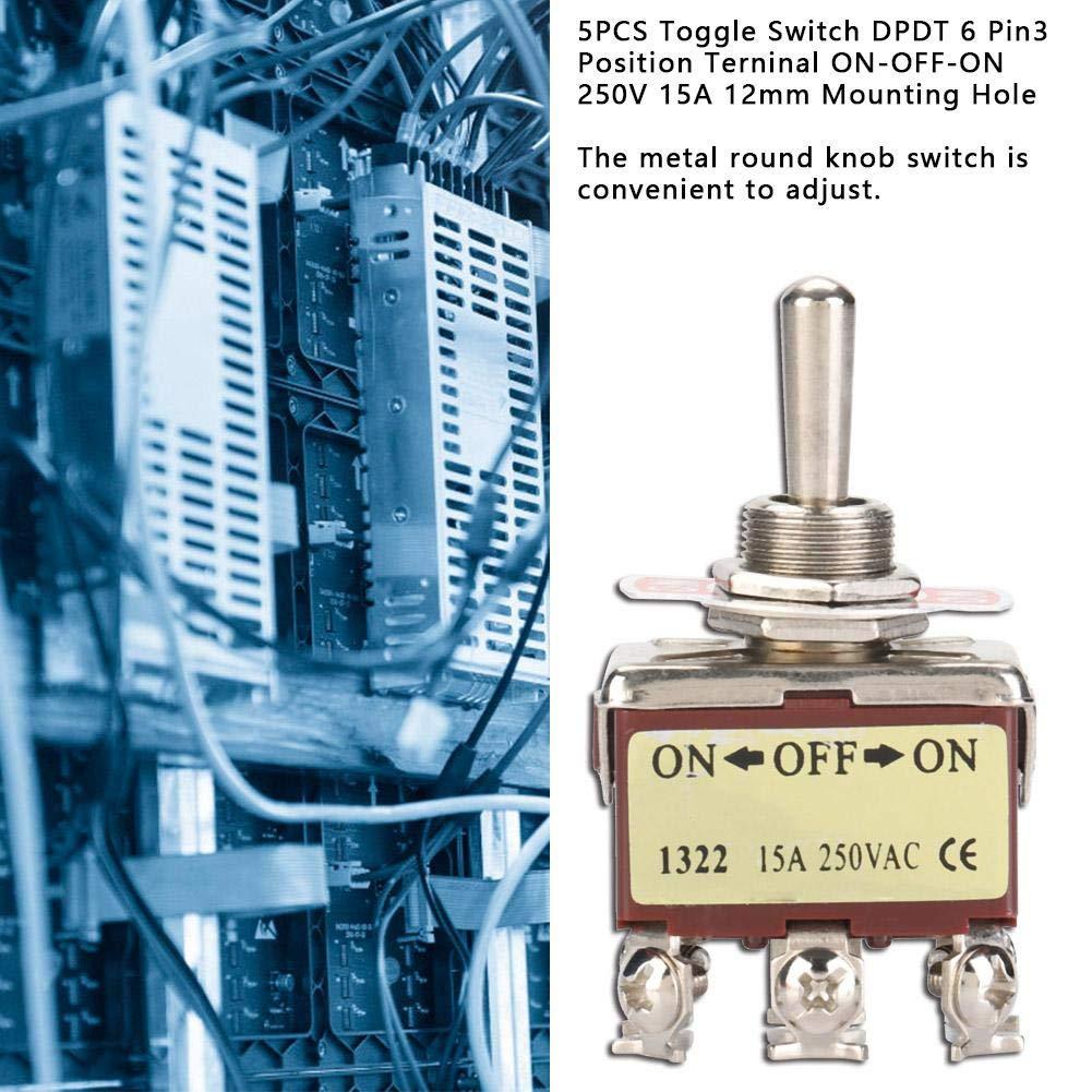 DPDT Orificio de montaje de 6 patillas 3 posiciones ON-OFF-ON 250V 15A 12mm 5PCS Interruptor de palanca 5PCS