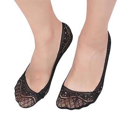 Flammi 4 Pairs Women's Lace No Show Liner Socks Non-Skid Boat Socks
