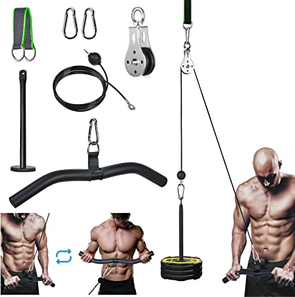 Gym Fitness Workout Equipment Pulley Cable System Lifting Arm Bicep Tricep Chest