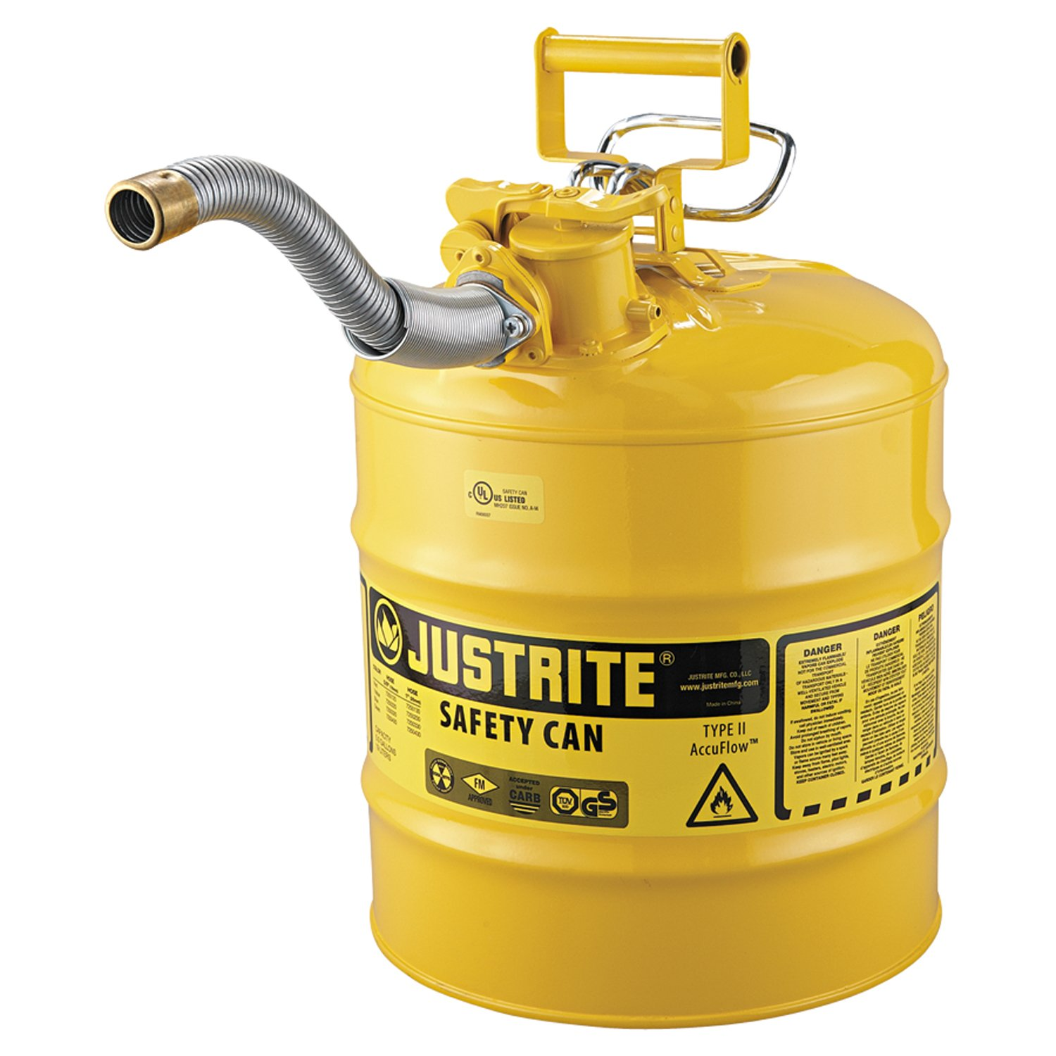 Justrite 7250230 AccuFlow 5 Gallon, 11.75'' OD x 17.50'' H Galvanized Steel Type II Yellow Safety Can With 1'' Flexible Spout