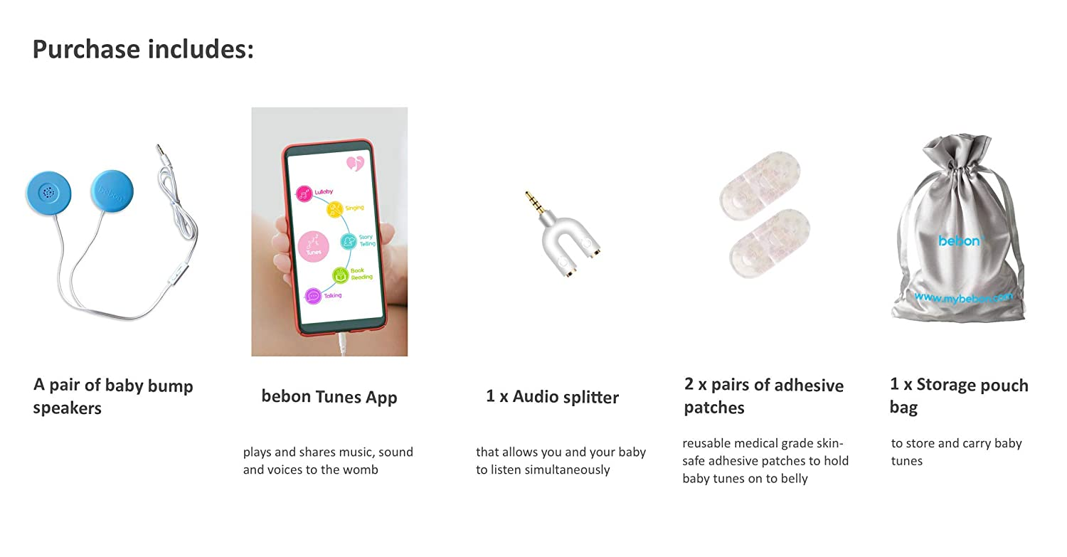 Tablet and Portable Audio Device Pixie Tunes Premium High-Fidelity Baby Bump Speaker System to Play Sound White Music and Talk to Your Baby in The Womb; Compatible with Any Mobile Phone