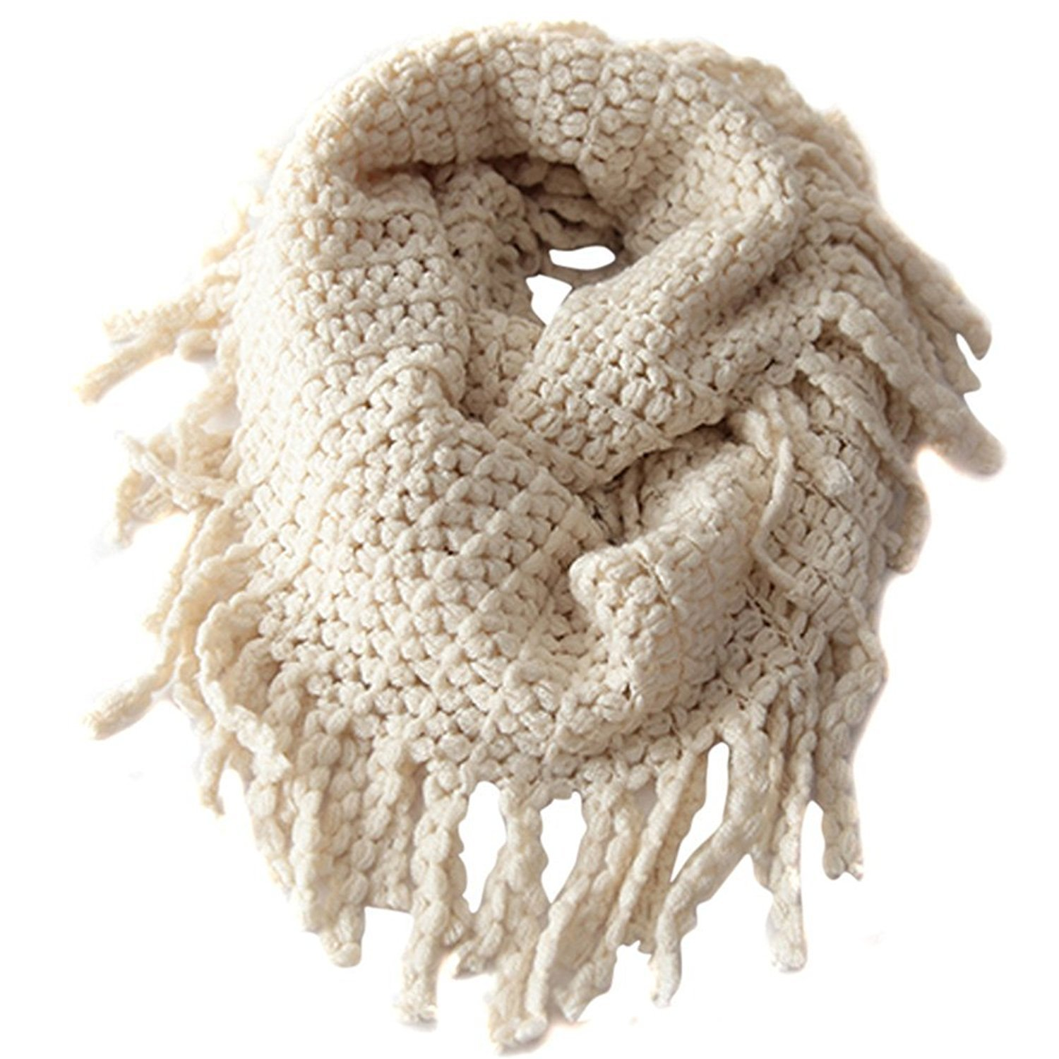 TININNA Fashionable Autumn Winter Kids Toddler Knit Warmer Tassels Neck Scarf Circle Loop Round Scarves Shawl - Beige EUBUY