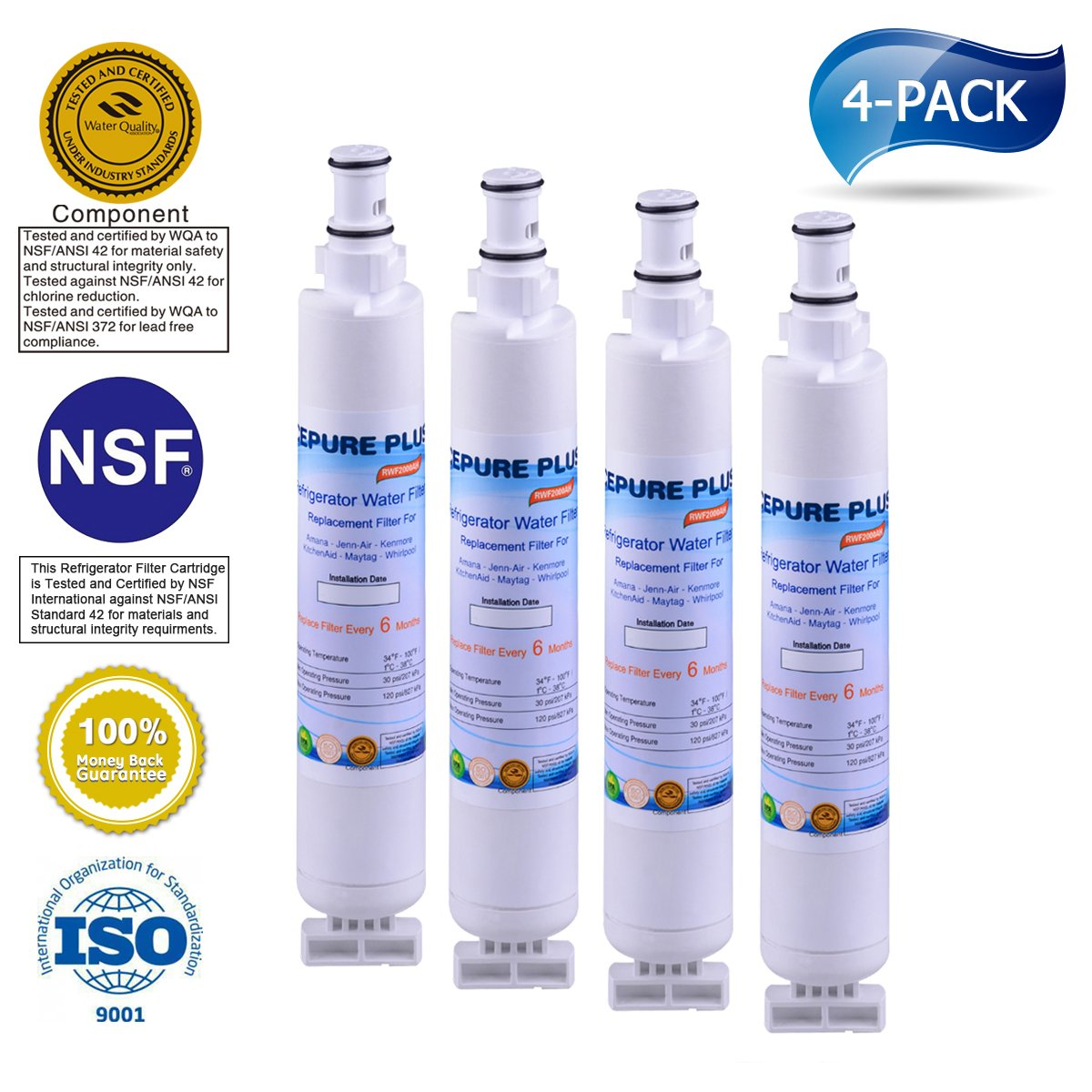 ICEPURE PLUS 4396701 Replacement for Whirlpool 4396701,EDR6D1,Kenmore 9915,46-9915,NL120V,4396701,4396702 Refrigerator Water Filter 4 Pack