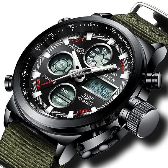 ... 50m Impermeable Electrónico Timer Dial Grande Militar LED Reloj de Digital con Cronómetro Para Hombre Moderno Reloj de Pulsera Azul: Amazon.es: Relojes