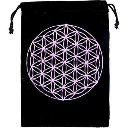 Kheops Flower of Life Unlined Black Velvet Tarot Bag