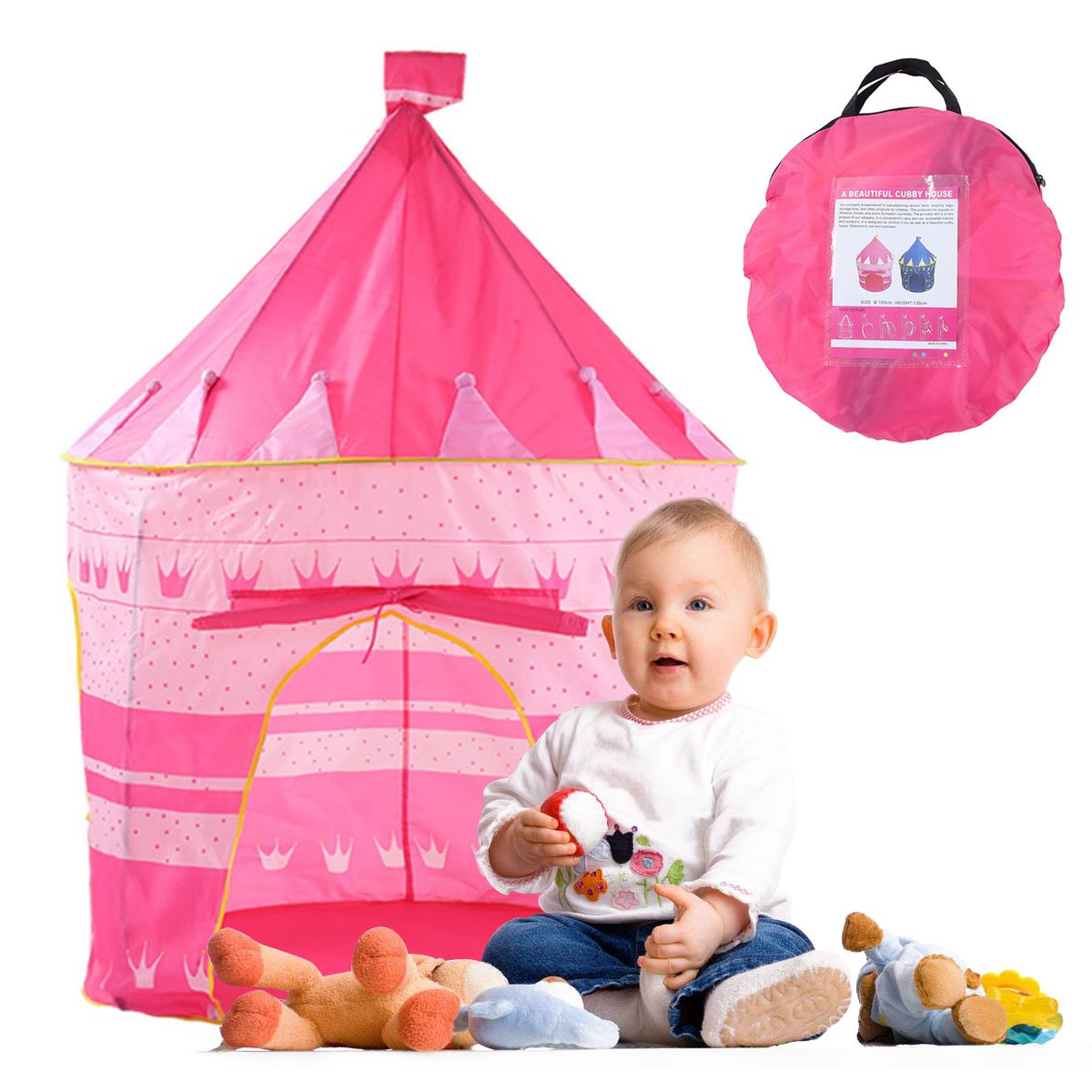 Castle Tent Play Tent Playhouse for Kids Indoor Outdoor Princess Castle Room Girls Toy Tents for Boys Kindergarten Games Gift for Children Portable Foldable , with Carrying Case (Pink Castle)