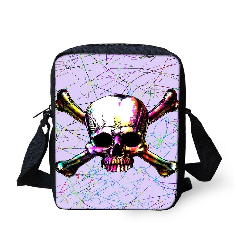 Messenger Bags Kids Small Handbag Purse Skull Pink Print for Organizing