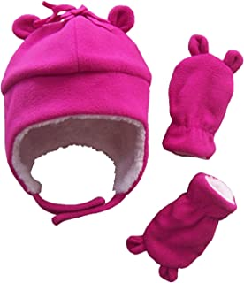 N'Ice Caps Girls Sherpa Lined Micro Fleece Hat and Mitten Set with Ears N'Ice Caps 2848-SHFI