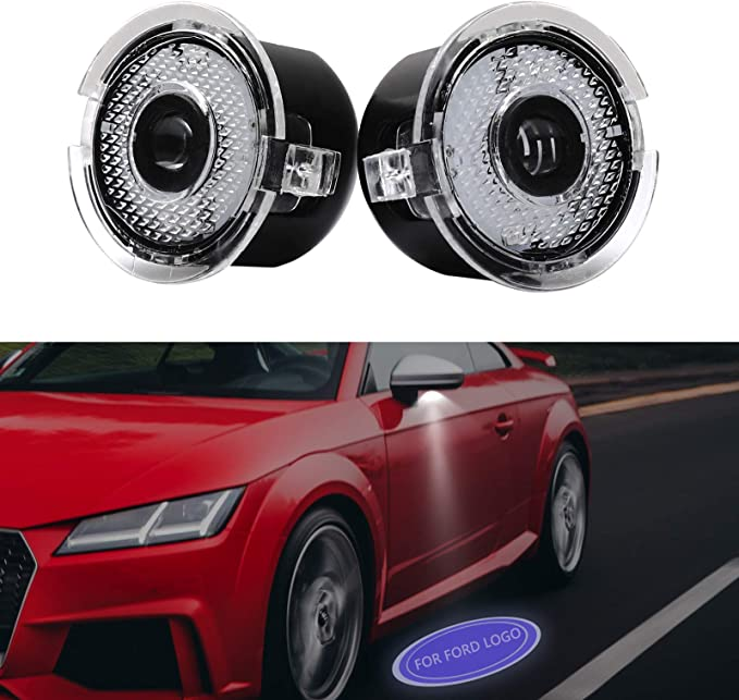 Elitezip 2pcs Set Side Rear View Mirror Projector Ghost Shadow Puddle Logo Light Compatible with Ford F150 Edge Fusion Explorer Mustang