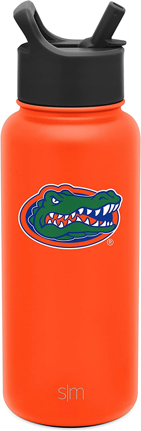 Gifts for Men Women Dads Leakproof Travel Tumbler Stainless Steel Florida Gators Simple Modern 32oz Summit Water Bottle with Straw Lid