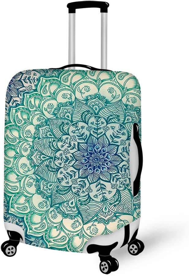 Luggage Cover Emerald Doodle Flowers Protective Travel Trunk Case Elastic Luggage Suitcase Protector Cover