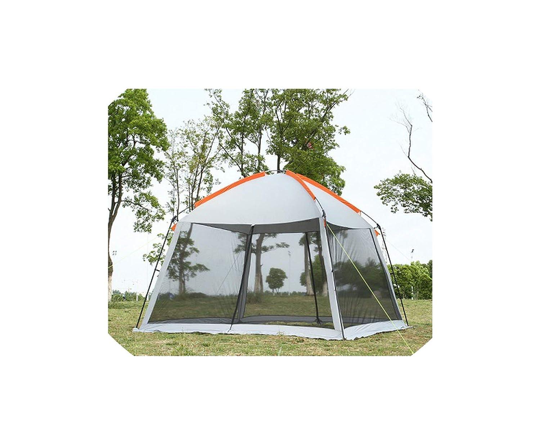 2層 58人用 ファミリーパーティー ビーチ キャンプ テント ガゼボ サンシェルター パーゴラ 蚊帳 2色 B07QFP613L Grey double layer