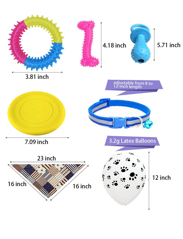 YunKo Kit de suministros de fiesta de cumpleaños para perro, 4 piezas de juguetes de goma para mascotas, 4 collares ajustables, 4 baberos de triángulo ...