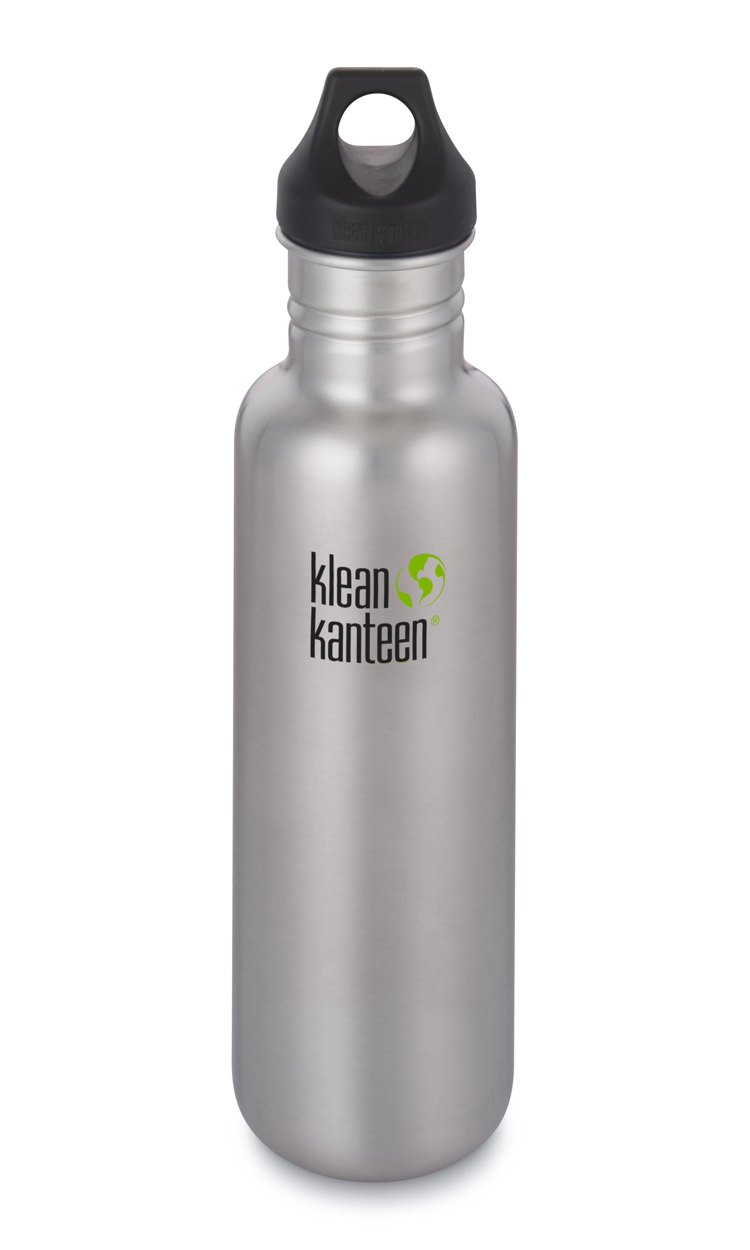Klean Kanteen 27oz Classic Stainless Steel Water Bottle Single Wall with Leak Proof Loop Cap - Brushed Stainless (NEW 2018)