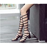 Gladiatore Alto ginocchio Stivali freddi romano sandali Donne Moda Aprire il piede Cavo Tacchi alti da 5.5cm Cerniera sandali Formato Eu 35-40