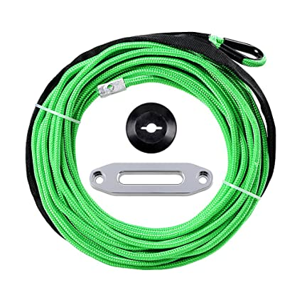 """Green Synthetic Winch Rope Line Cable 1//4/""""x50/' 7000 LB With Rock Guard For ATV"""