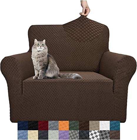YEMYHOM Couch Cover Latest Jacquard Design High Stretch Sofa Covers for 3 Cushion Couch Loveseat Recliner, Beige Pet Dog Cat Proof Slipcover Non Slip Magic Elastic Furniture Protector