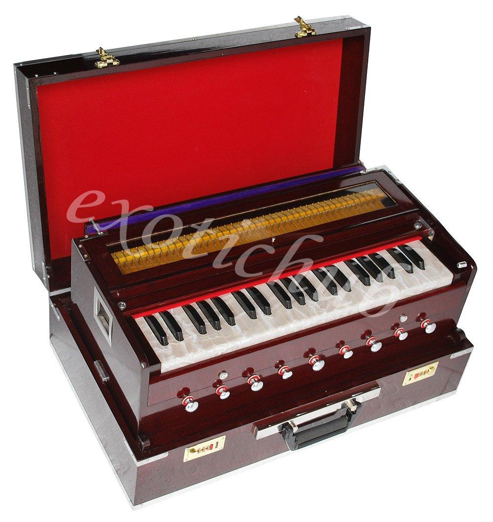 Harmonium Traveler/Portable/Folding Type By Kaayna Musicals, 9 Stops- 5 Main & 4 Drones, 3½ Octaves, Dark Color, Coupler, Gig Bag, Bass-Male Reed - 440 Hz, Suitable for Yoga, Bhajan, Kirtan, etc 3½ Octaves MRD-03