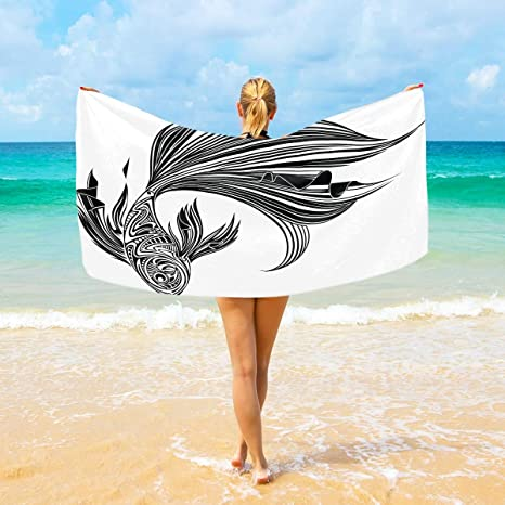 Amazon Com Wihve Beach Towels Japan Black And White Koi Fish Quick Drying Bath Towel For Home Bathroom Pool And Gym 37 X 74 Home Kitchen