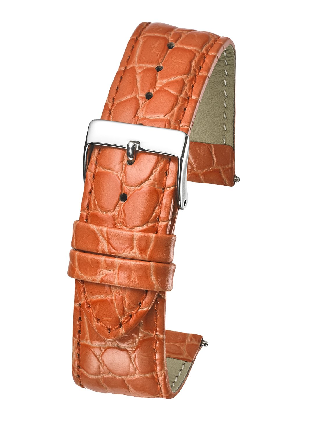 Genuine Leather Watch Band Strap in Shiny Croco Grain Finish - 22mm - Orange