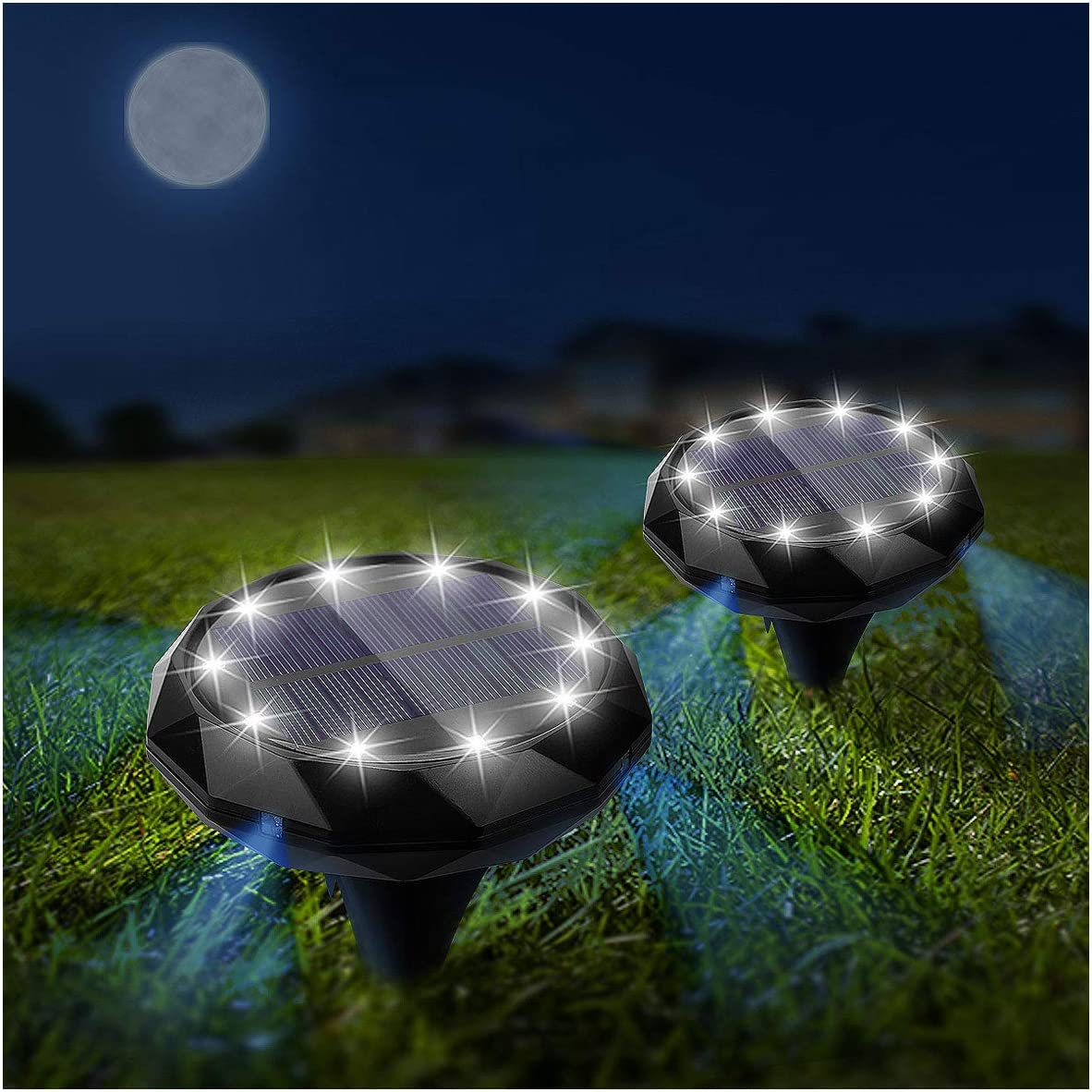 Solar Ground Lights 2 Pack 14 LED Lighting IP45 Waterproof Solar Ground Lights, Solar Disk Lights for Pathway Lawn Patio Yard