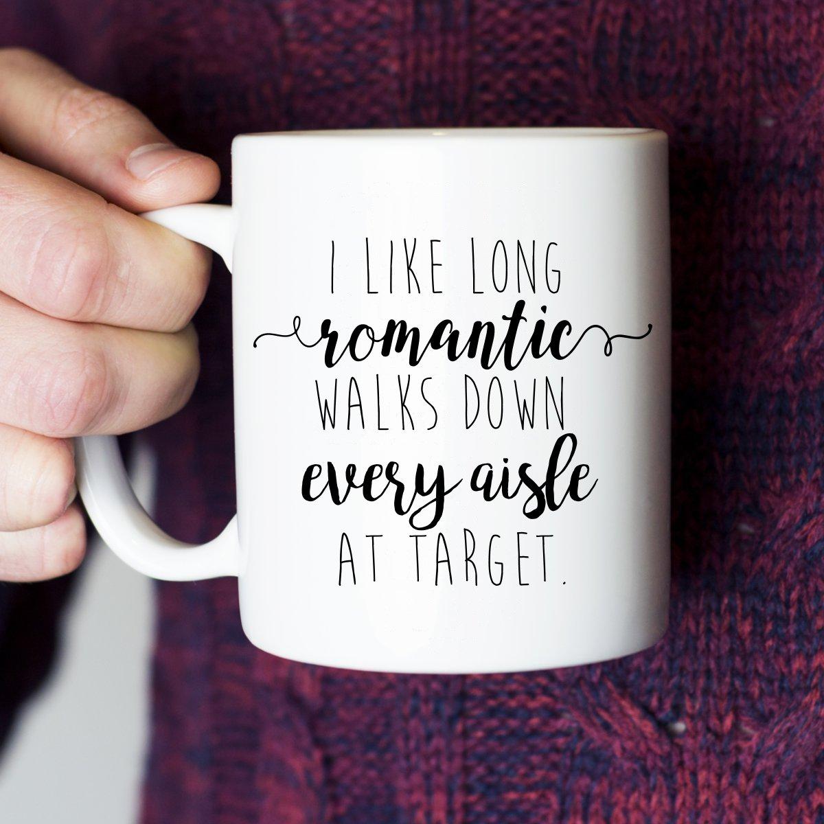 Amazon.com: I Like Long Romantic Walks at Target Funny Coffee Mug ...